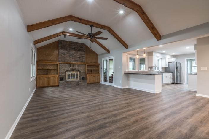 Family room with Shaws vinyl plank flooring