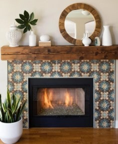 boring fire place now tile after