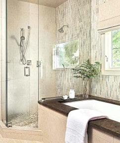 corner shower after