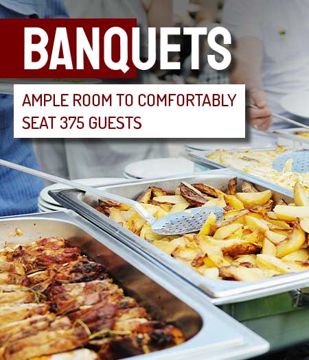 banquets - ample room to comfortably seat 375 guests