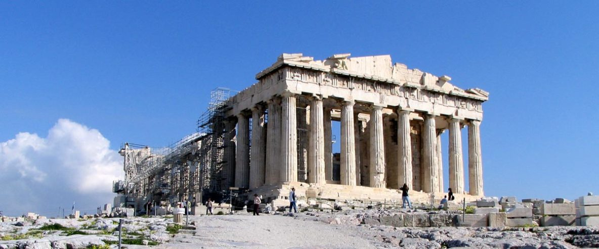 The magnificent Parthenon on top of the Acropolis in Athens Greece.