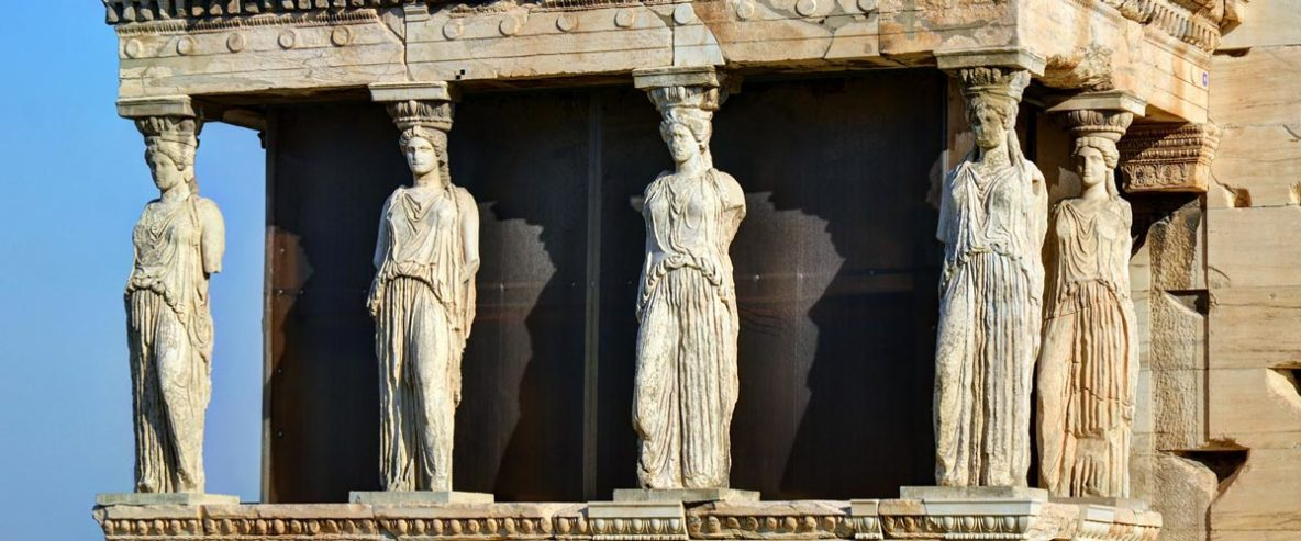 The Caryatids of the Erechtheion at the Acropolis of Athens Greece.