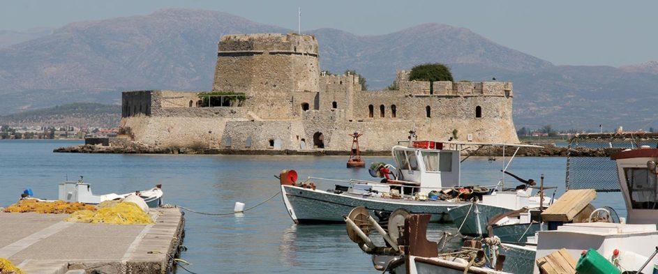 View of castle Bourtzi in Nafplio Greece.