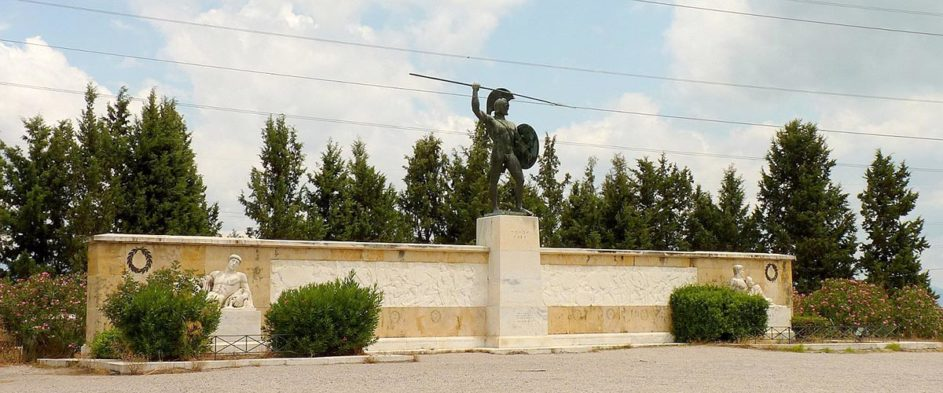 Statue of King Leonidas in Thermopylae Greece honoring his bravery and sacrifice.