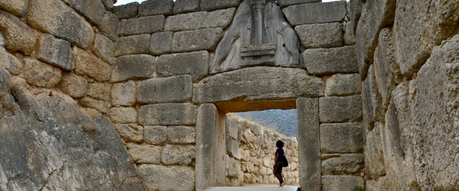 The Lion Gate was the main entrance of the Bronze Age citadel of Mycenae, southern Greece.