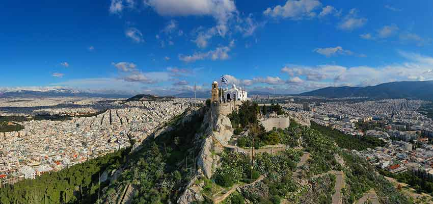 Mount Lycabettus in Athens and the chapel of St. George