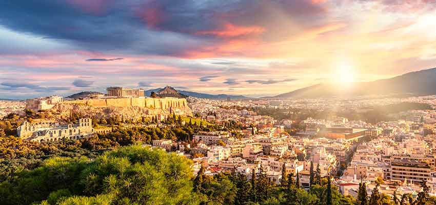 The city of Athens and the Acropolis with the Parthenon