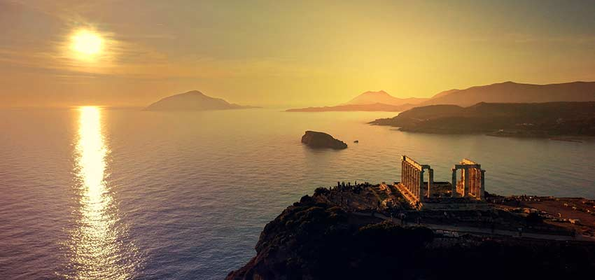 Breathtaking view of the Temple of Poseion at Cape Sounion