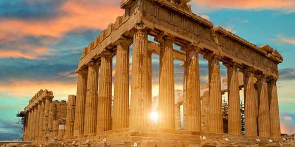 The Parthenon on top of the Acropolis