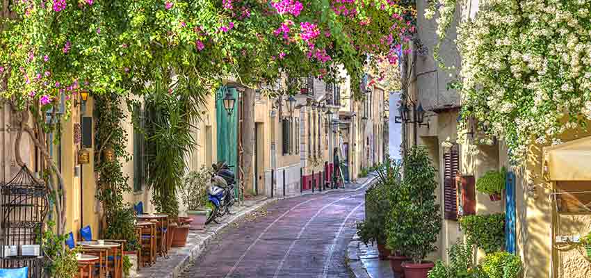 The picturesque Plaka area in Athens