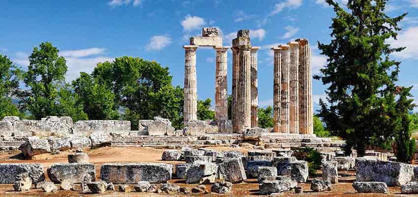 The temple of Zeus in ancient Nemea