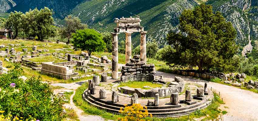 The Tholo monument at ancient Delphi