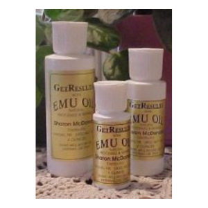 Selection of emu oil in different sized containers