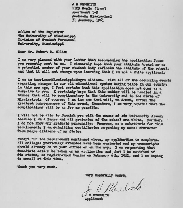 Letter dated January 31, 2961, to Robert B. Ellis, Registrar University of Mississippi from James Meredith submitting application for admission.