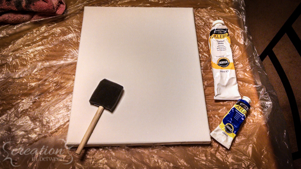 Blank canvas and foam brush.