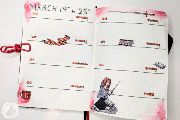 Harry Potter Gryffindor Weekly Bullet Journal Layout