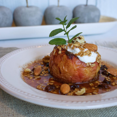 Baked Apple Topped with Flourish Granola