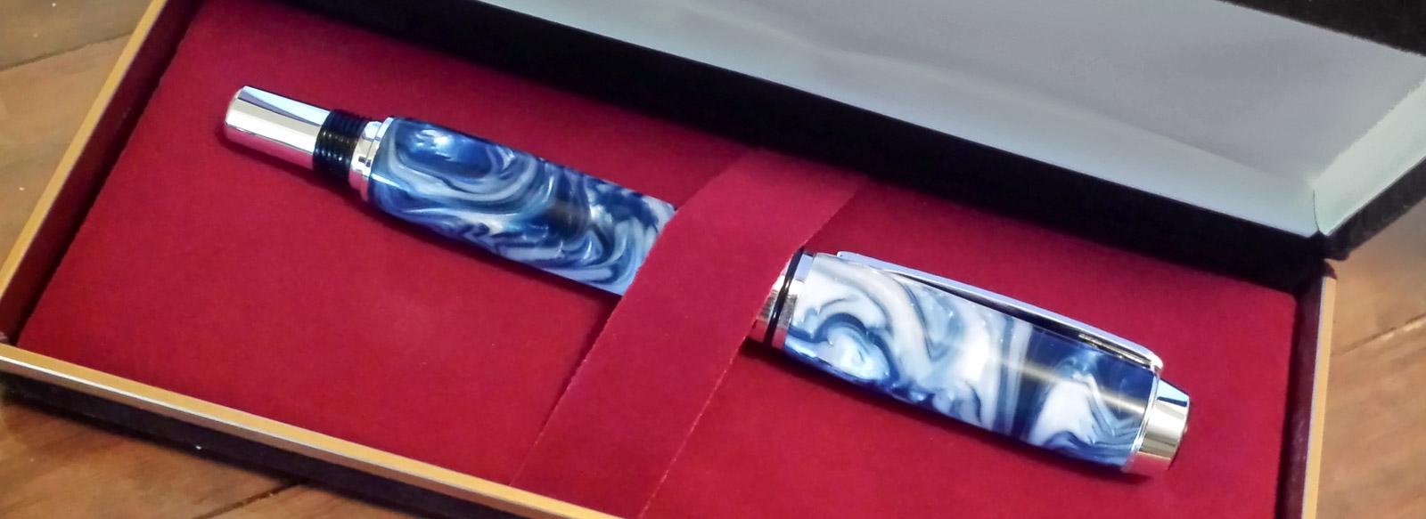 Blue swirl acrylic first handmade fountain pen gift