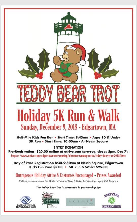 Martha's Vineyard Teddy Bear Suite Fundraiser: Online Registration For Teddy Bear Trot Holiday 5K Run & Walk