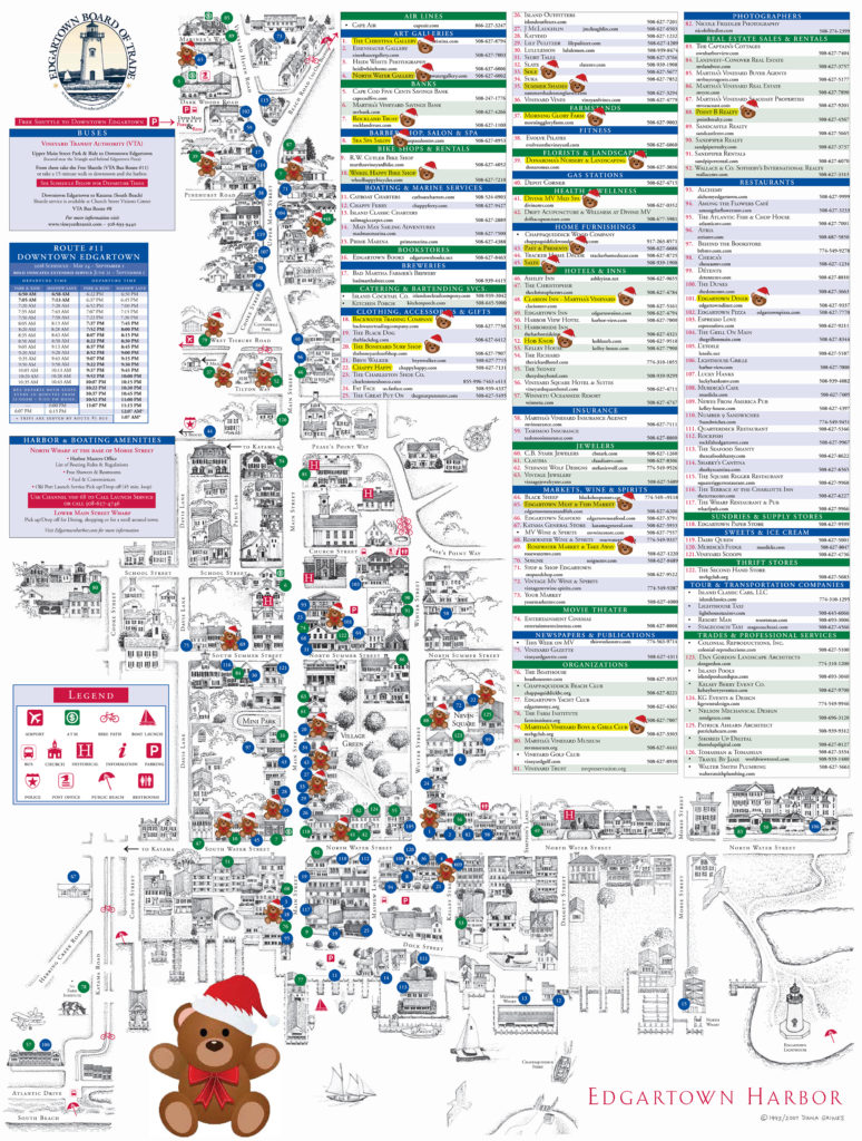 Map For All Businesses In Teddies Around Town In Edgartown