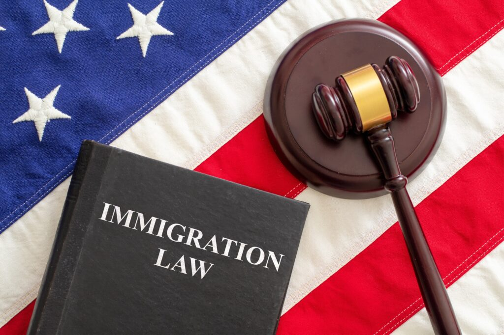 Judge gavel and Immigration Law book on United States of America flag.
