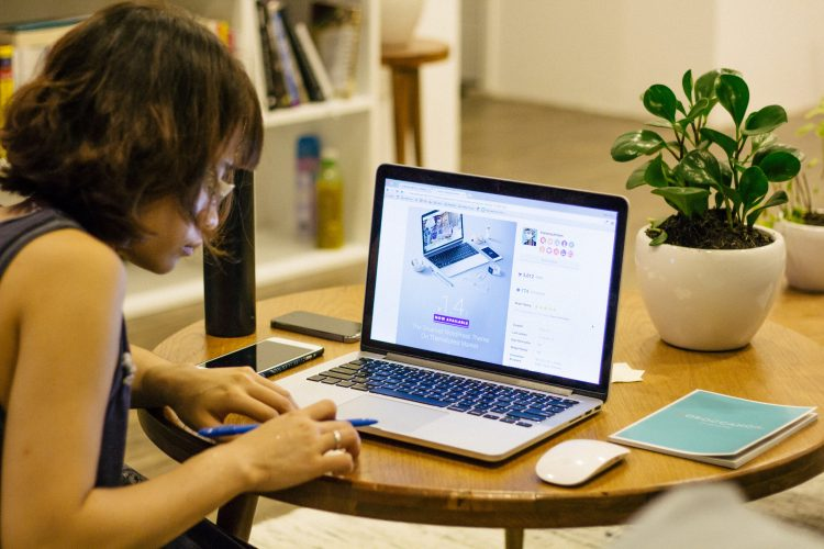 girl studying at computer