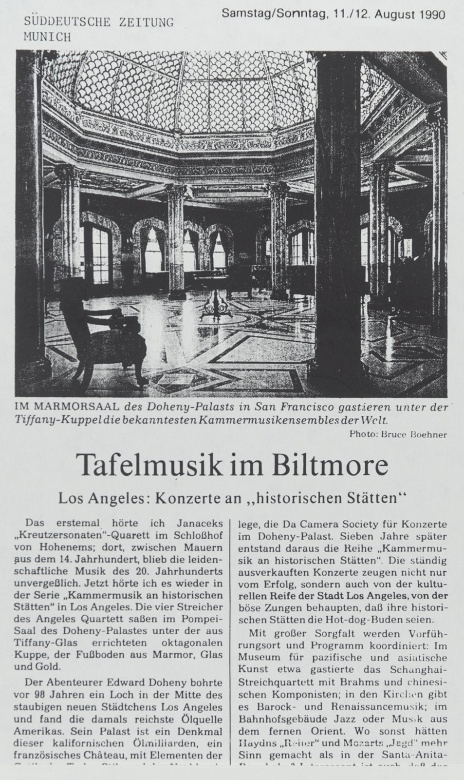 Tafelmusik im Biltmore - Da Camera Society