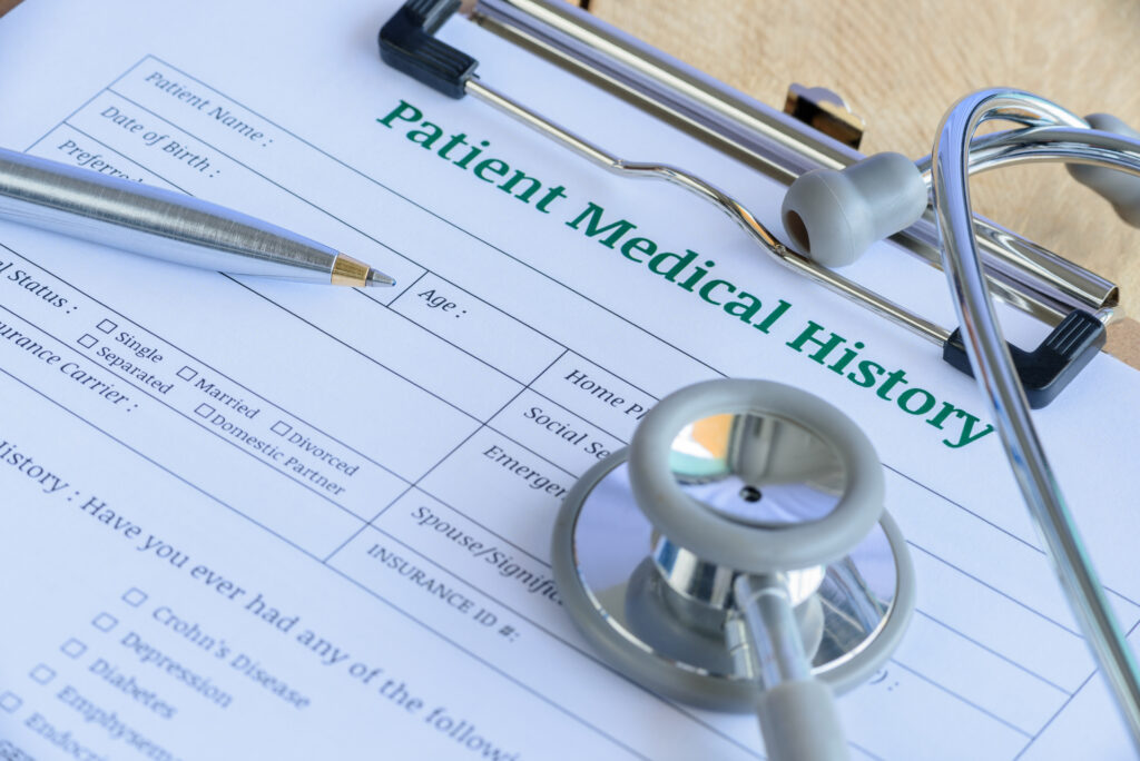 Patient,Medical,History,On,A,Clipboard,With,Stethoscope,And,A