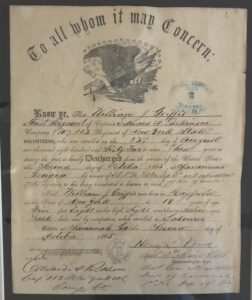 Photograph of Civil War Discharge Paper of William Griffis