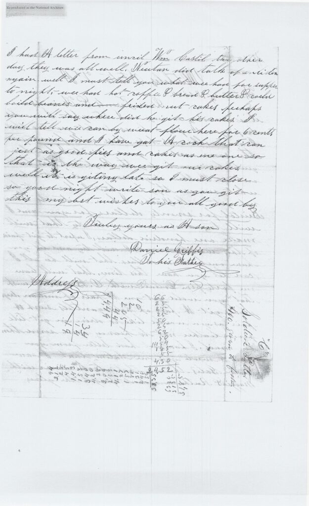Letter from Daniel Griffis