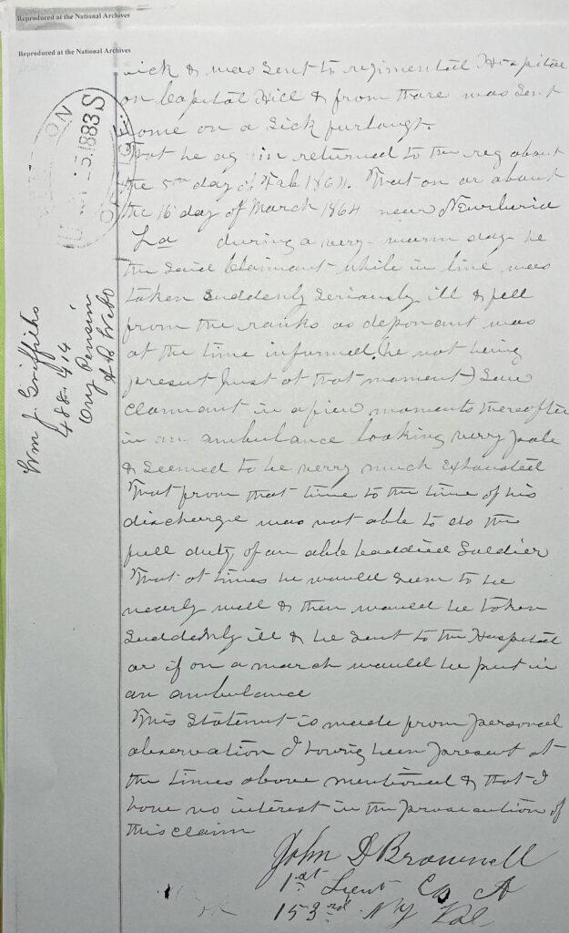 John Brownell Affidavit 1883