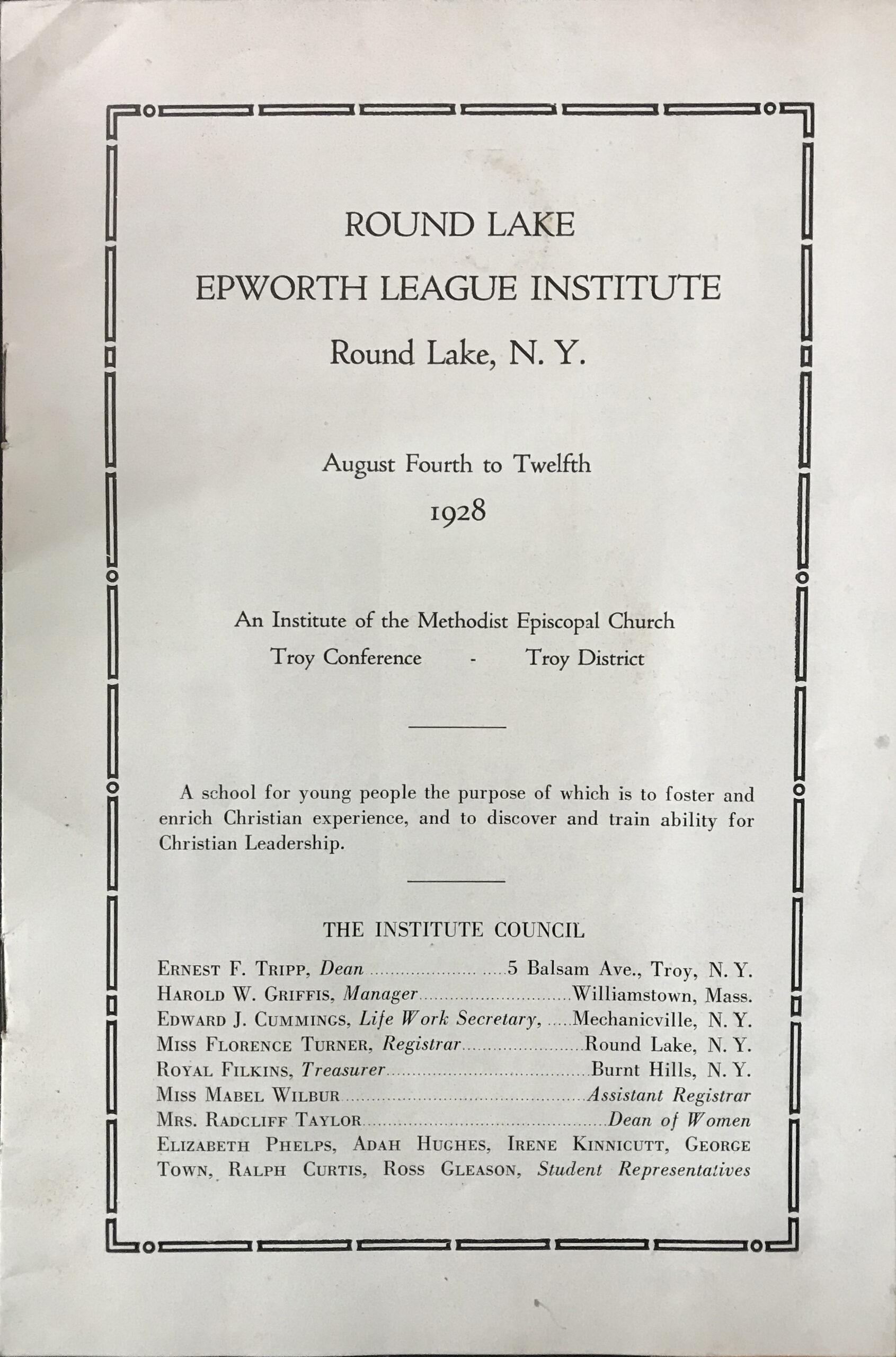 1928 Epworth League 1928 Page 1