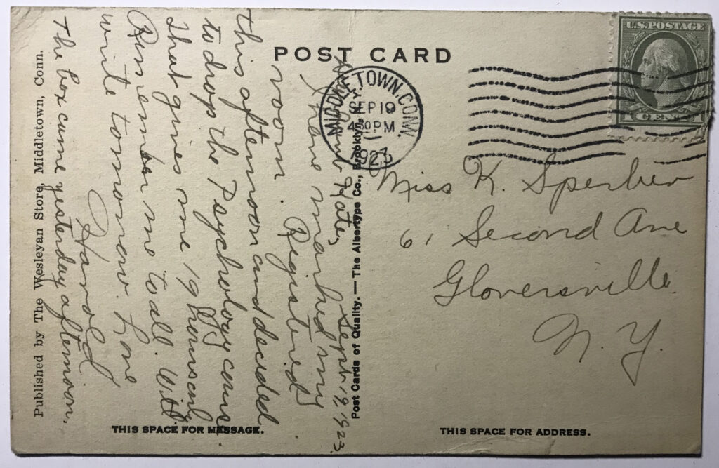 Post Card of Sigma Nu Backside Wesleyan University 1923