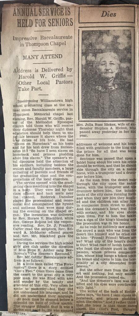 Harold Griffis Newspaper Article Sermon - Slaves on Horseback