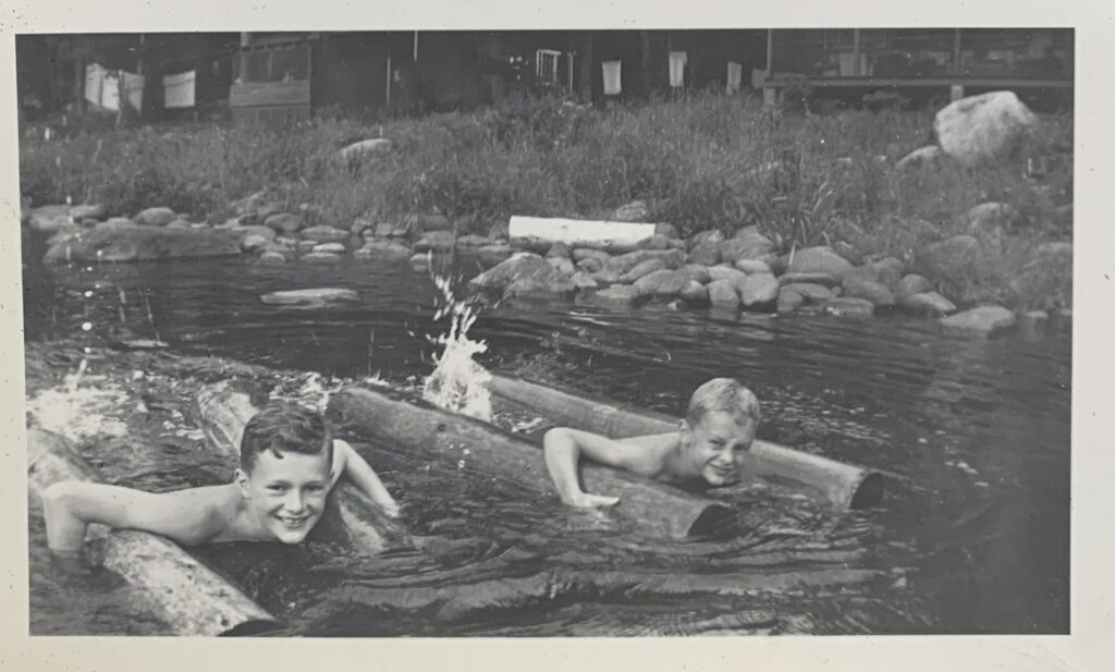 Jim and John floating with the logs in the Hudson River
