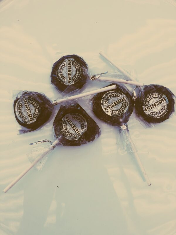 Film-style photograph of old time lollipops