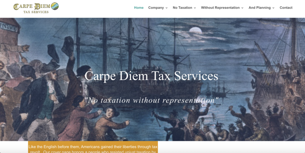 Screenshot of page of Carpe Diem Tax Services showing the Boston Tea Party.