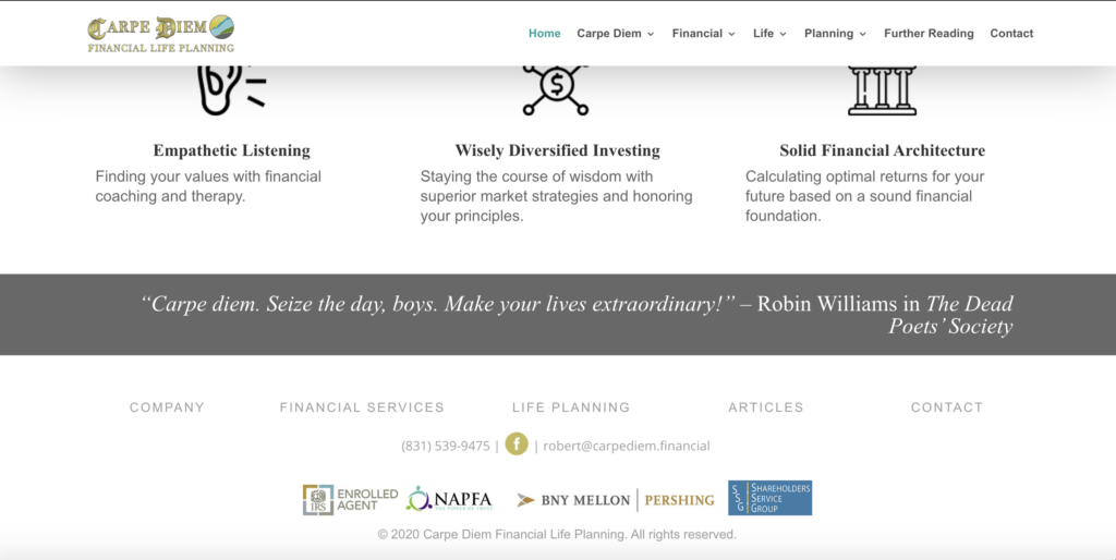 Screenshot of Carpe Diem website page showing the footer and affiliate logos.
