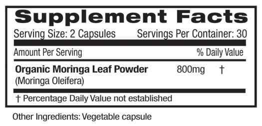 Moringa Leaf Supplement Facts
