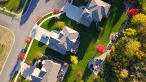 Overhead of suburban neighborhood purchased with best mortgage rates in Baltimore MD