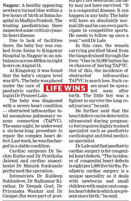Newborn underwent Heart Surgery at Kingsway Hospitals