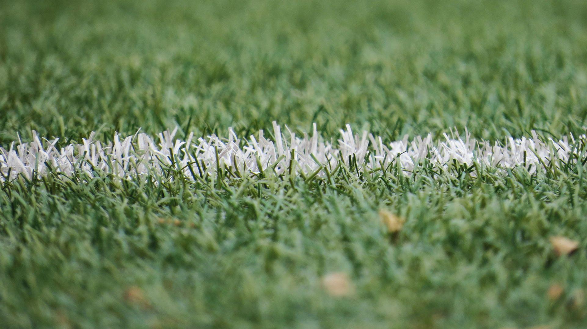 White sideline of a soccer field.