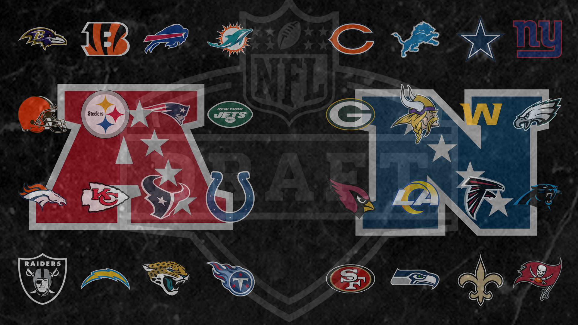 NFL Draft image with all 32 teams and both conference logos