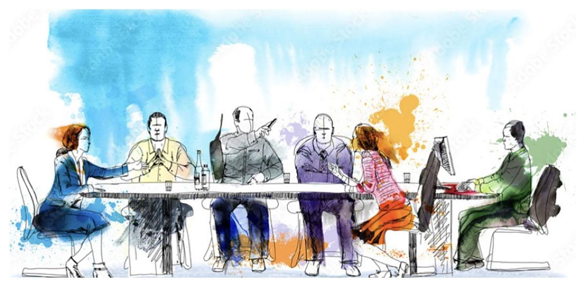 Susan Wells Law meeting arould boardroom table
