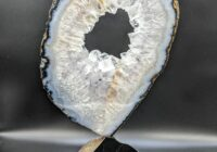 Brazilian Geode slab on Black Jade mounted on Black Granite (Sculpture)