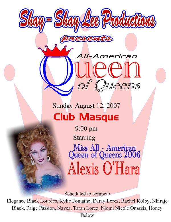 All American Queen of Queens Pageant   8/12/2007   Club Masque (Dayton, Ohio)