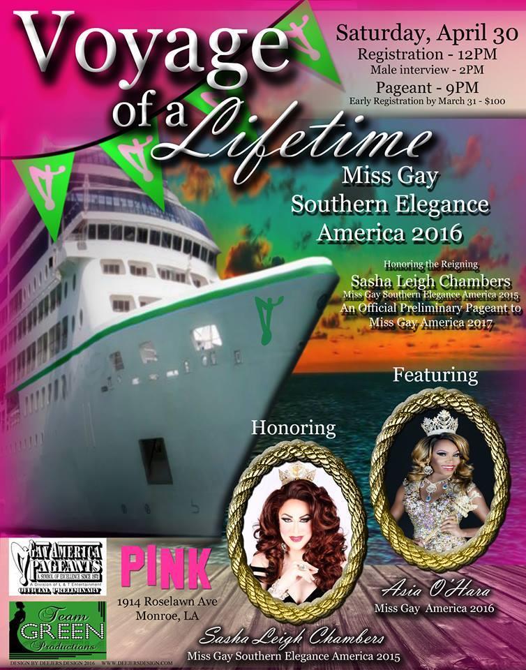 Show Ad | Miss Gay Southern Elegance America | Pink (Monroe, Louisiana) | 4/30/2016