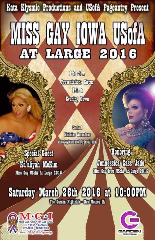 Show Ad   Miss Gay Iowa USofA at Large   Garden Nightclub (Des Moines, Iowa)   3/26/2016