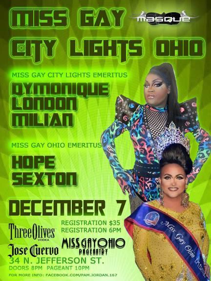 Show Ad | Miss Gay City Lights Ohio | Masque (Dayton, Ohio) | 12/7/2014