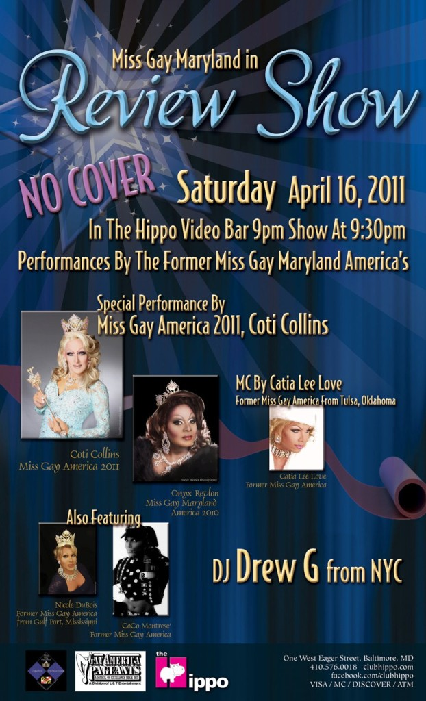 Show Ad   Miss Gay Maryland America   Club Hippo (Baltimore, Maryland)   4/16/2011